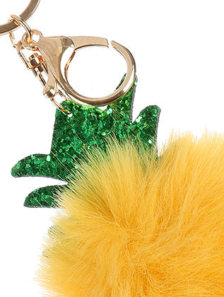 Yellow Pompom Glitter Pineapple Bag Accessory Key Chain Image#2