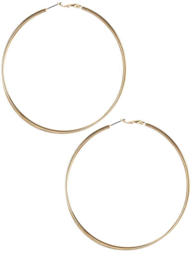 Gold Twisted Metal Hoop Earring