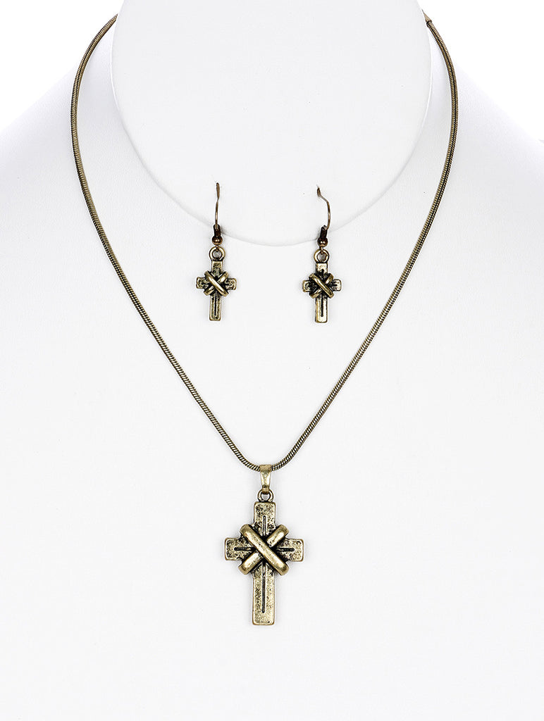 Gold Aged Finish Metal Cross Pendant Necklace And Earring Set