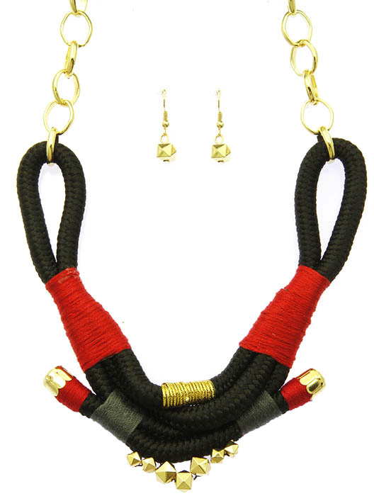 Black Rope Bib Necklace And Earring Set