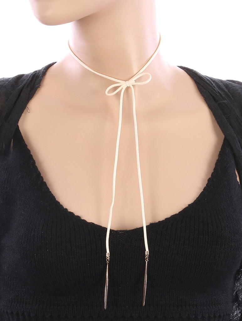 Beige Faux Suede Bow Choker Necklace And Earring Set