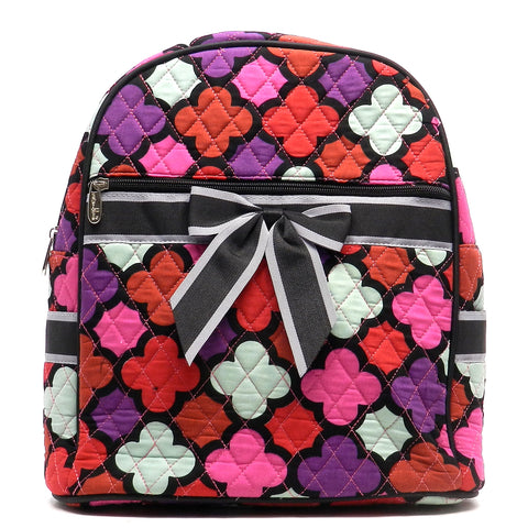Quilted Flower Print Mini Backpack w/Convertible Shoulder Straps & Removable Bow
