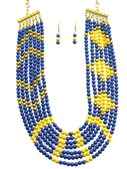 Blue Multi Strand Bib Necklace And Earring Set