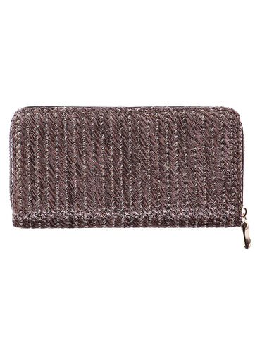 Brown Straw Woven Clutch Wallet Bag Accessory