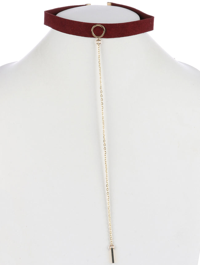 Burgundy Metal Ring Suede Choker Necklace