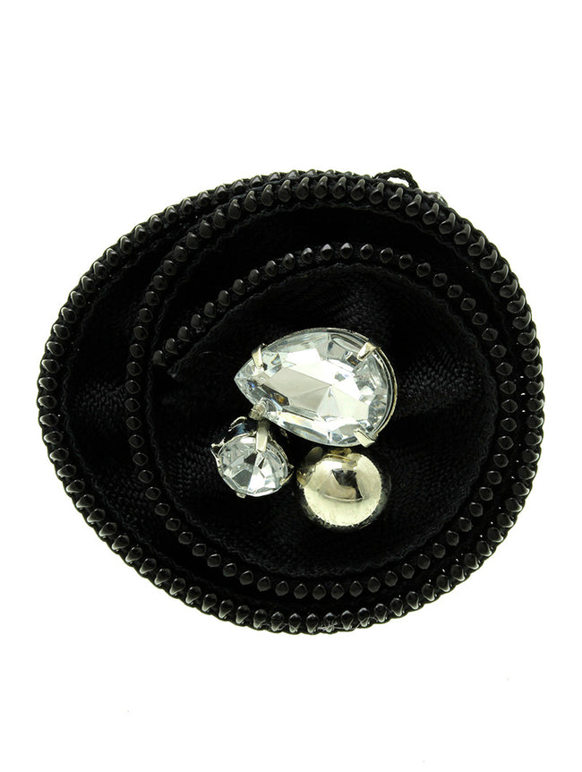 Black Zipper Fabric Flower Ring
