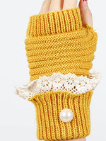 Yellow Laced Fold Over Hand Wrist Warmer General Merchandise Image#2