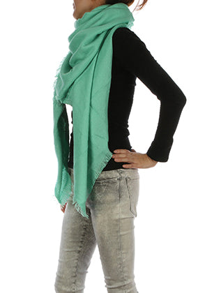 Mint Green Woven Soft Yarn Blanket Scarf Image#2
