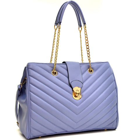 Faux Leather Chevron Quilted Tote Bag