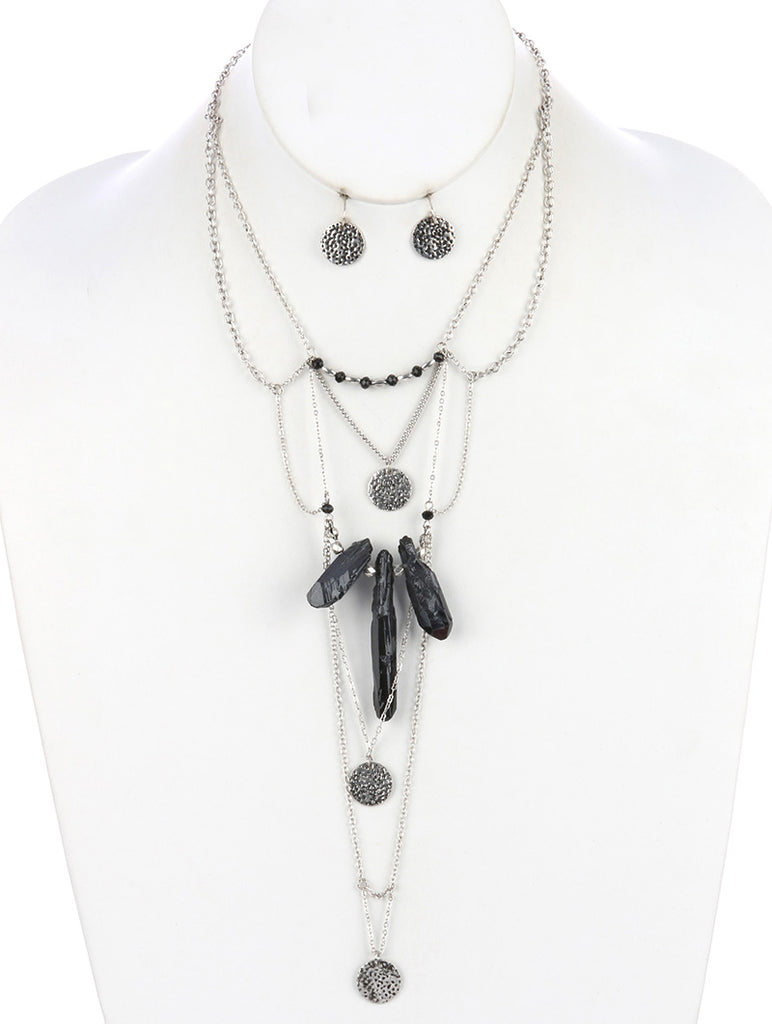 Black Aged Finish Metal Multi Layered Chain Necklace And Earring Set