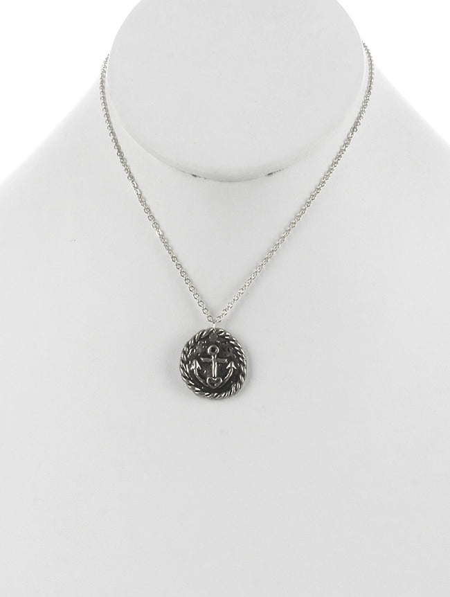 Sliver Round Metal Anchor Charm Fashion Necklace - MMN16390SOSIV