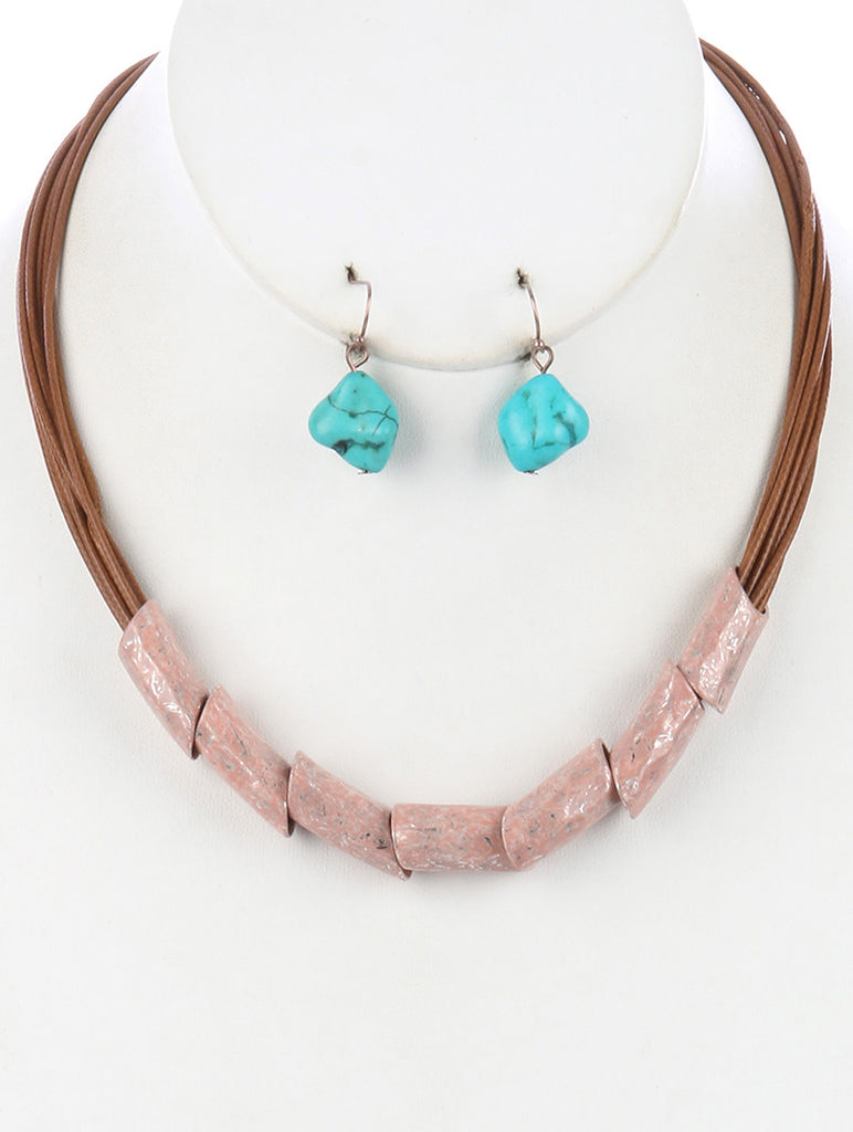 Peach Hammered Metal Barrel Multi Cord Bib Necklace And Earring Set