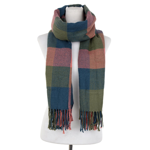 Oversized Plaid Wool Blend Scarf Wrap