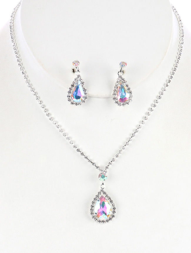 Aurore Boreale Teardrop Charm Rhinestone Necklace And Earring Set
