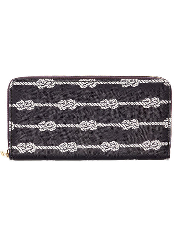 Mulit Color Knotted Rope Print Vinyl Clutch Wallet Bag Accessory