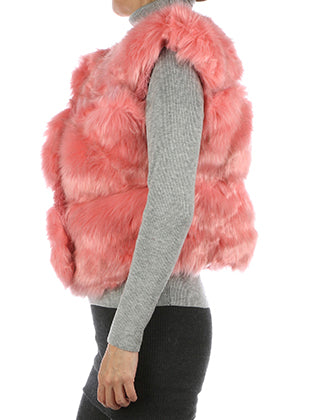 Pink Russian Style Ribbed Soft Fur Vest Image#2