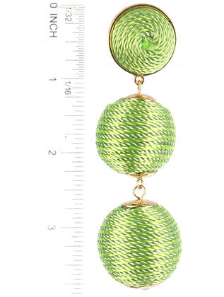 Green Color Cord Wrapped Chunky Ball Trio Earring Image#2