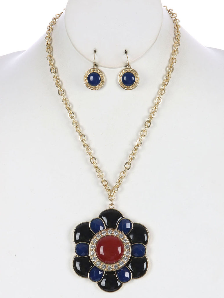 Blue Faceted Lucite Stone Floral Pendant Necklace And Earring Set