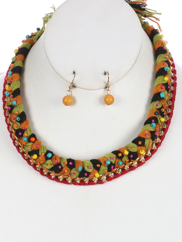 Red Braided Yarn Bib Necklace And Earring Set