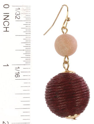 Red Color Cord Wrapped Chunky Ball Earring Image#2