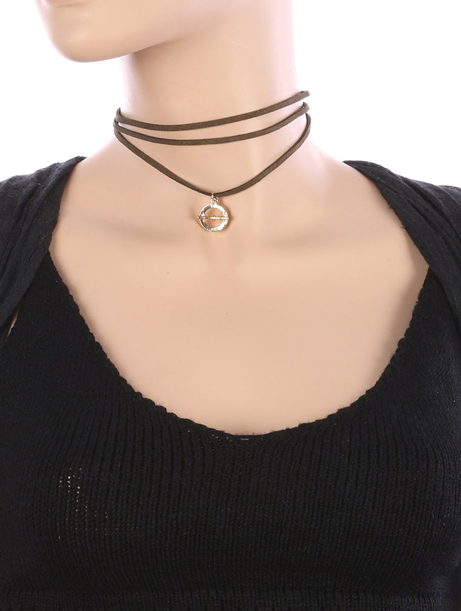 Olive Metal Ring Charm Faux Suede Choker Necklace