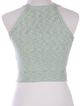 Mint Green Double Strap Woven Crop Tank Image#2