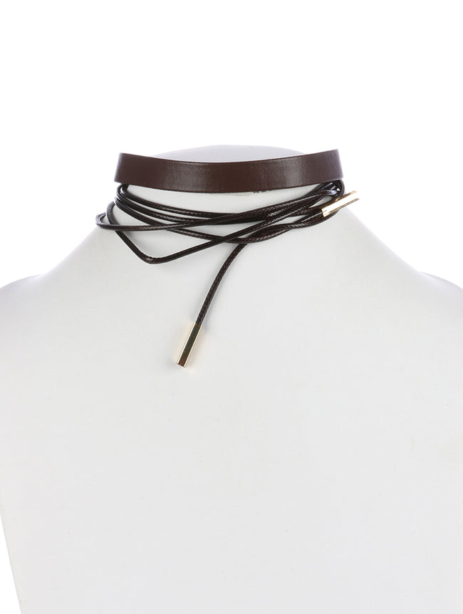 Brown Faux Leather And Wraparound Cord Choker Necklace