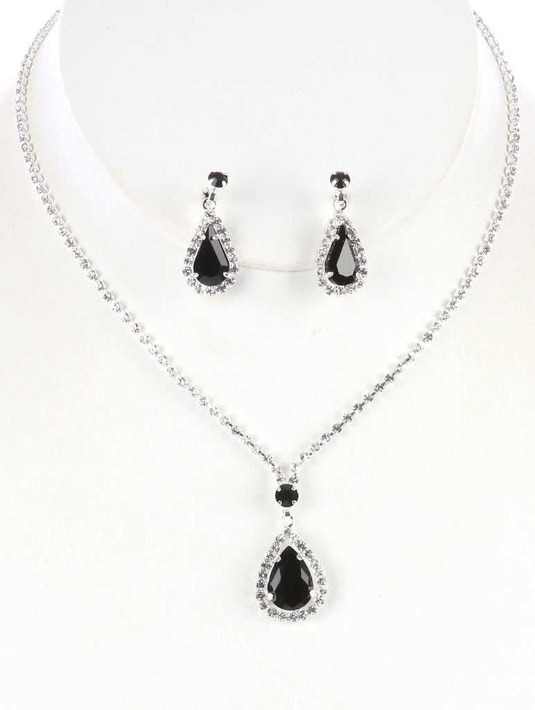 Black Teardrop Charm Rhinestone Necklace And Earring Set