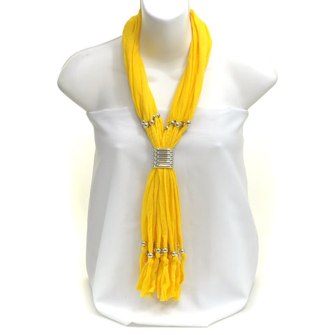 Metal Ringed Adjustable Beaded Fringe Light Weight Scarf