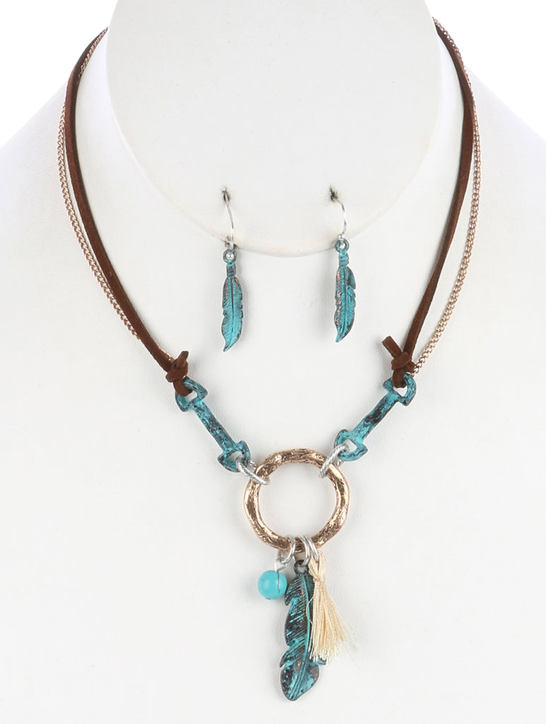 Turquoise Aged Finish Metal Feather And Tassel Charm Necklace And Earring Set