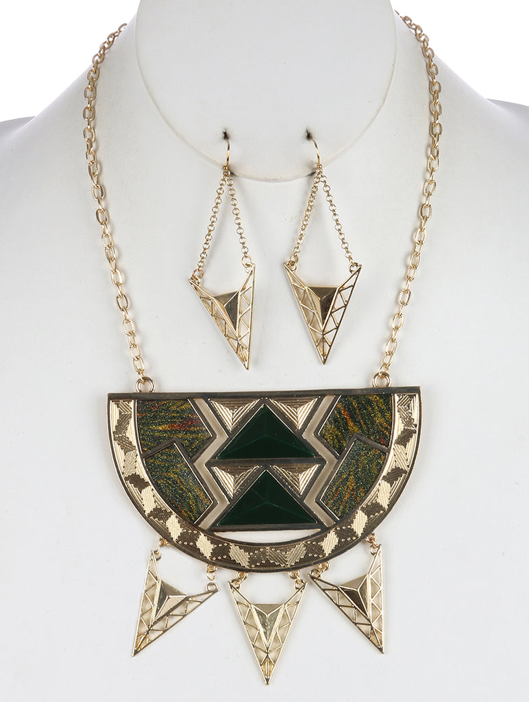 Green Geometric Cutout Metal Half Circle Bib Necklace And Earring Set