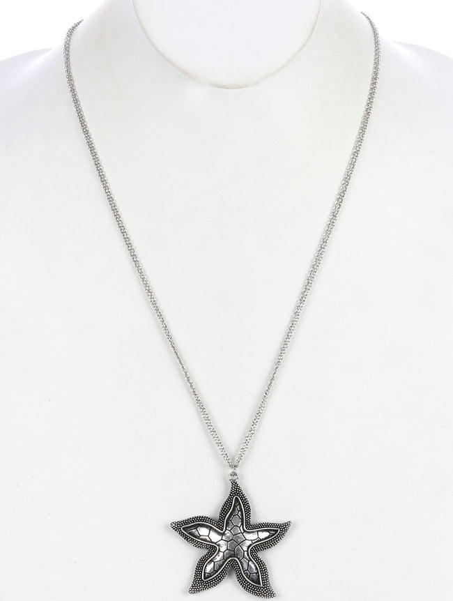 Sliver Aged Finish Metal Starfish Pendant Necklace