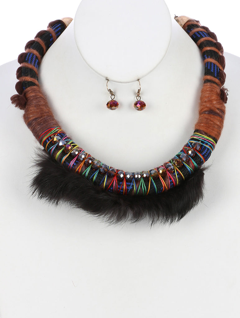 Brown Braided Color Cord Faux Fur Bib Necklace And Earring Set