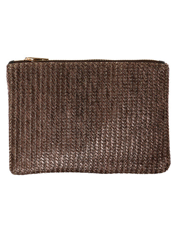 Brown Straw Woven Clutch Bag Accessory