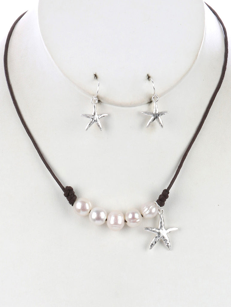 Brown Metal Starfish Charm Pearl Bib Necklace And Earring Set