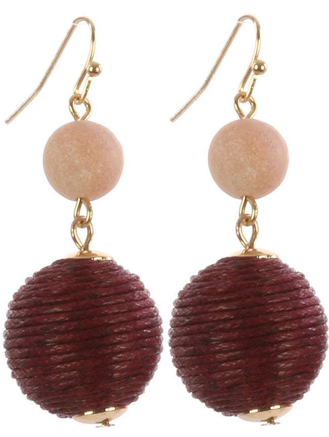 Red Color Cord Wrapped Chunky Ball Earring