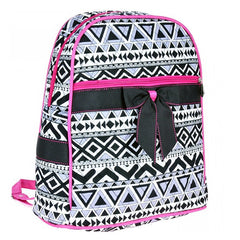Aztec Print Quilted Backpack with Removable Bow