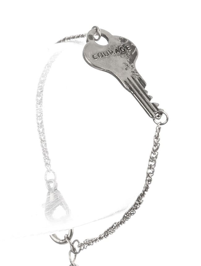 Sliver Aged Finish Metal Message Key Chain Bracelet