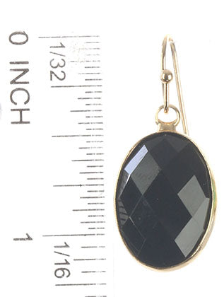 Black Oval Cut Faceted Lucite Stone Earring Image#2