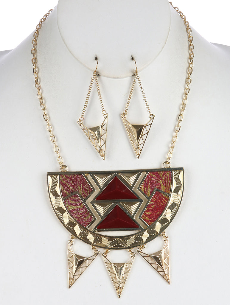 Pink Geometric Cutout Metal Half Circle Bib Necklace And Earring Set