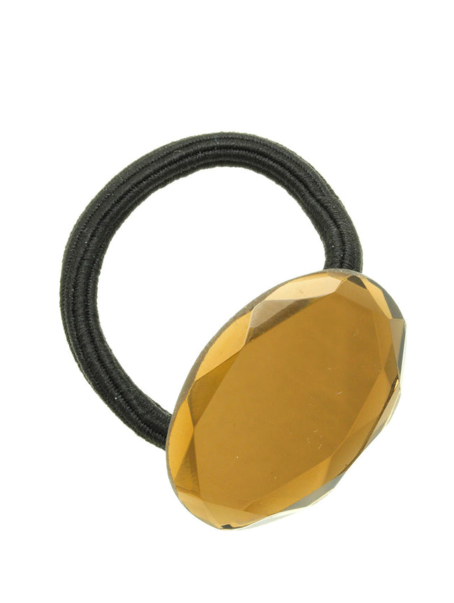Brown Mirror Finish Lucite Stone Hair Tie Hair Accessory