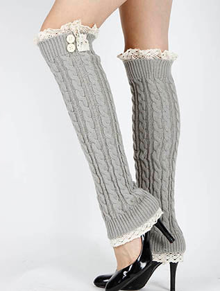 Gray Lace Top And Bottom Over The Knee Leg Warmer Image#2