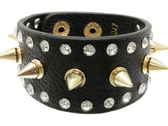 Black Metal Spike Leather Band Bracelet