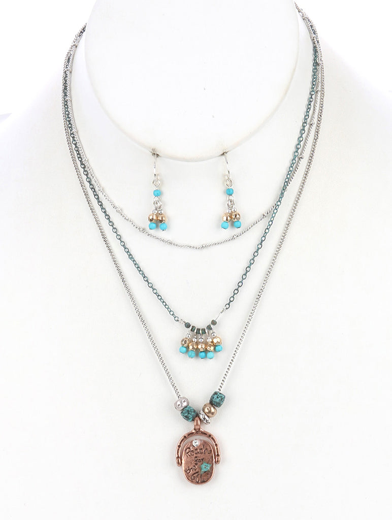 Mulit Color Aged Finish Three Layered Chain Necklace And Earring Set