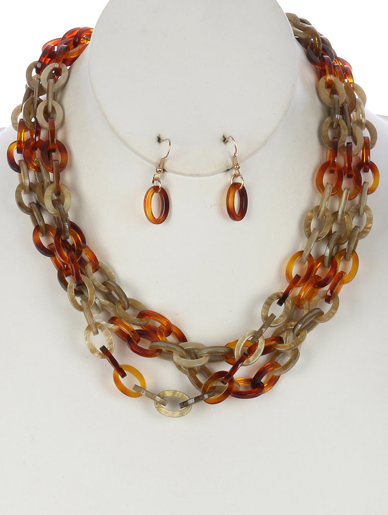 Natural Turtouise Lucite Link Three Layer Chain Necklace And Earring Set