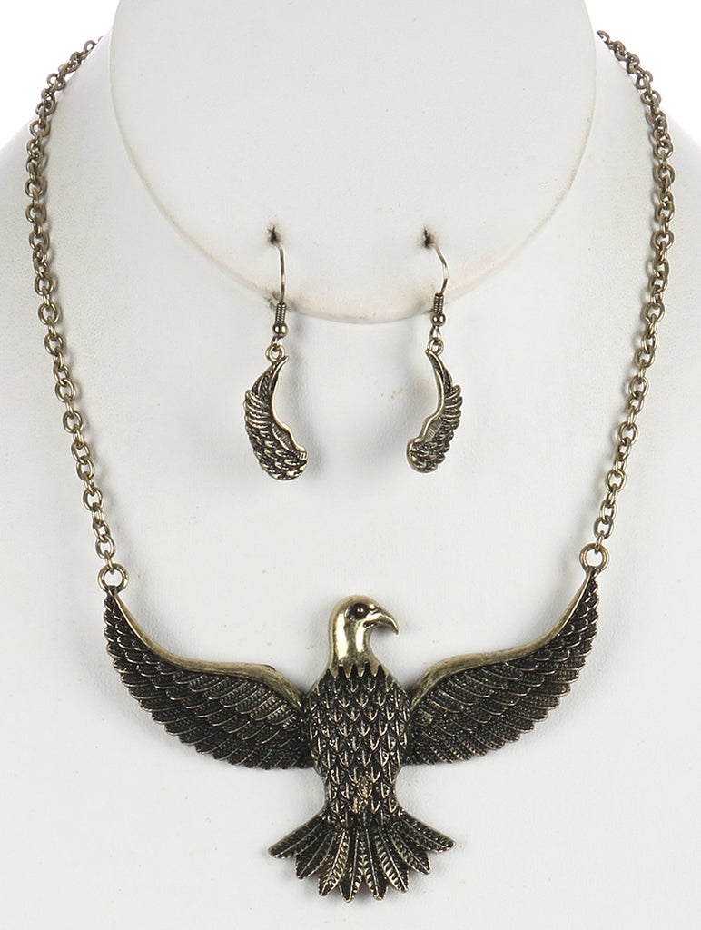 Gold Aged Finish Metal Thunderbird Bib Necklace And Earring Set