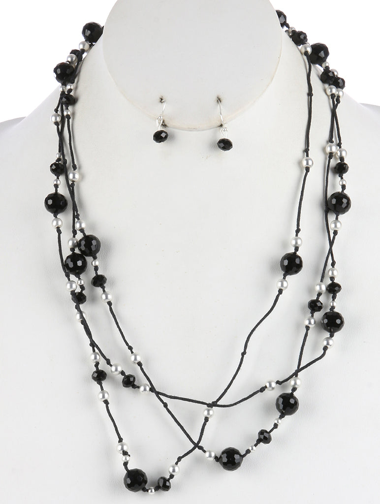 Black Iridescent Glass Bead Extra Long Wraparound Necklace And Earring Set