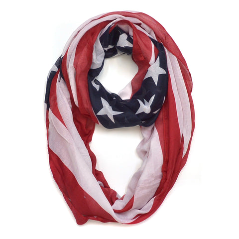Sheer Infinity American Flag Colors Scarf