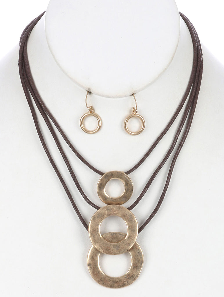 Brown Hammered Metal Ring Three Layer Cord Necklace And Earring Set