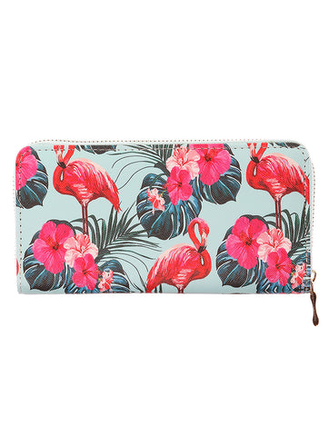 Mulit Color Tropical Print Vinyl Clutch Wallet Bag Accessory